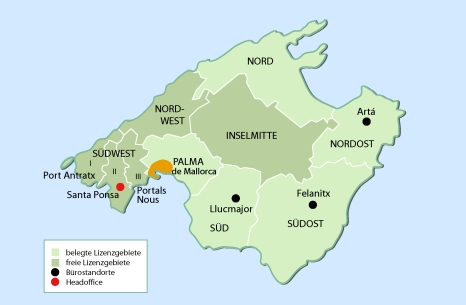 Karte Mallorca Franchisegebiete