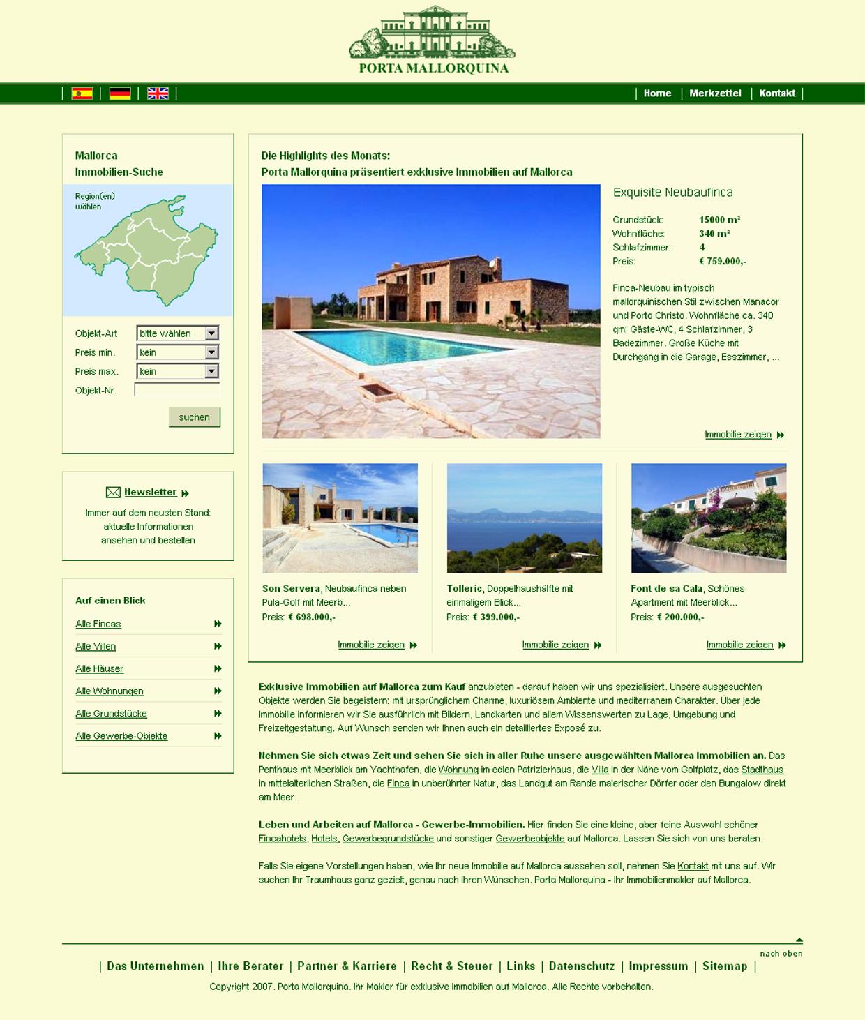 Die Porta Mallorquina Website vor 10 Jahren.