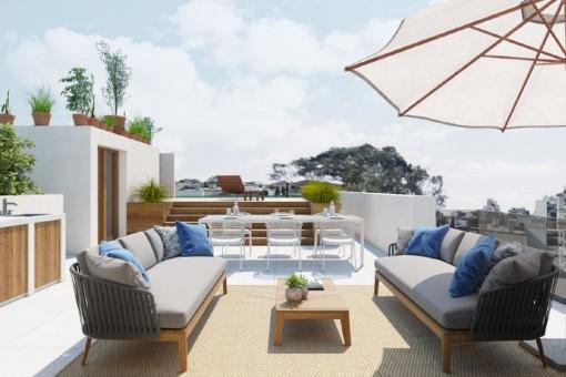 Beeindruckendes Luxus-Penthouse mit Dachterrasse, Pool, Garage und Meerblick in Son Armadans, Palma