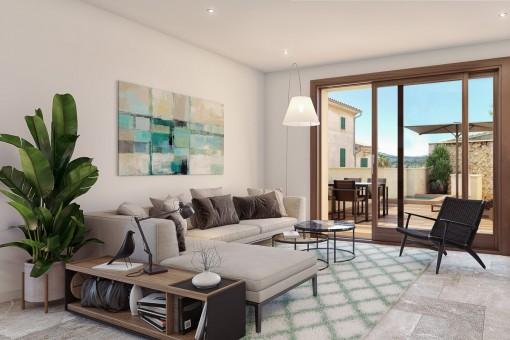 Heller Wohnbereich mit Zugang zur Terrasse