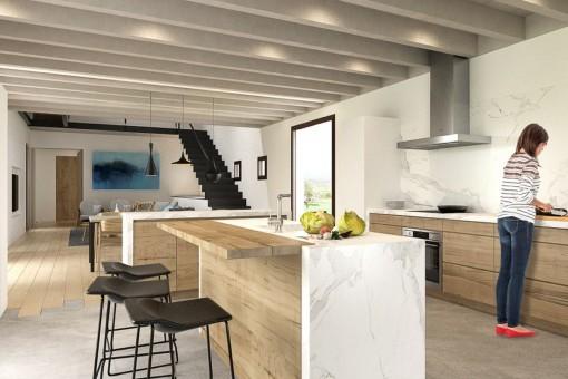 Vollausgestattete Küche mit Kochinsel