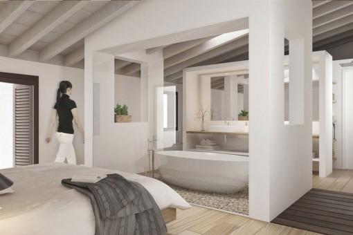 Schlafzimmer mit offenem Badezimmer en Suite