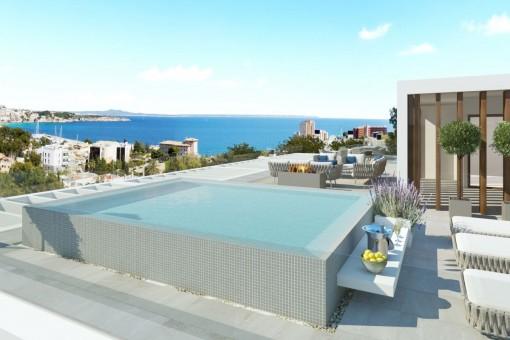 Duplex-Luxusapartment mit Meerblick in einer kleinen Neubau-Wohnanlage in Ca's Catalá