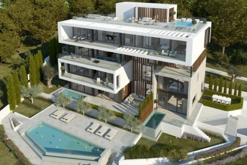 Neubau-Luxusapartment im Erdgeschoss mit Meerblick in Ca's Catalá