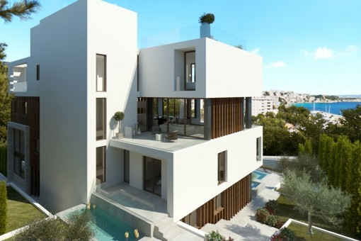 Das Meerblick-Apartment bietet eine fantastische Terrasse mit privaten Pool