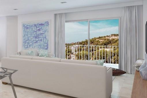 Heller Wohnbereich mit Balkonzugang
