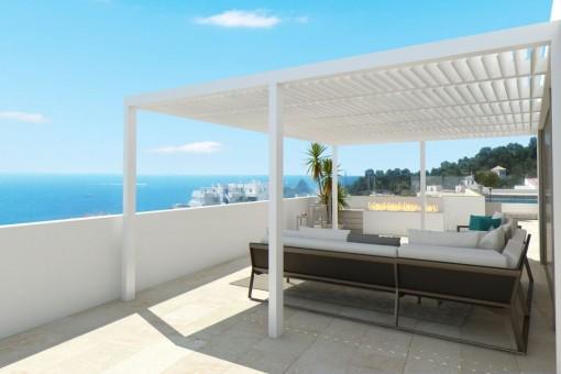 Beeindruckende Dachterrasse mit Loungebereichen