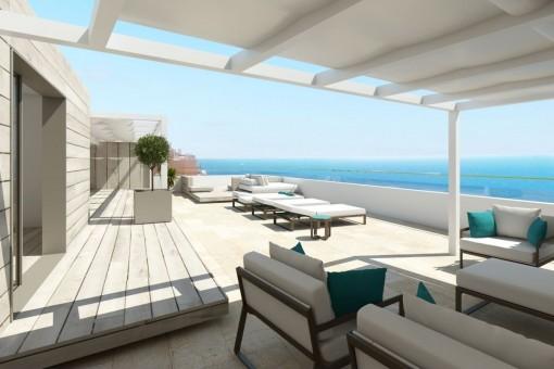Penthouse-Projekt mit großartigem Meerblick in Illetes
