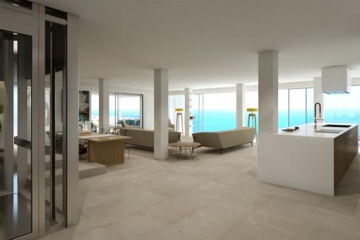 Großzügiger Wohn-und Essbereich mit Panoramafenstern