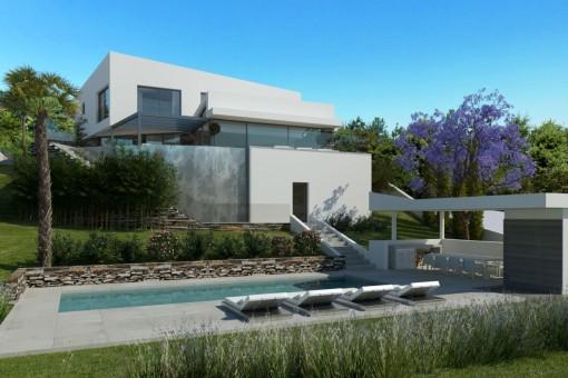 Garten mit stilvollem Poolbereich
