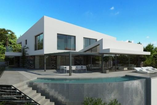 Schönes Villenprojekt in Costa d'en Blanes mit Blick auf den Yachthafen von Portals