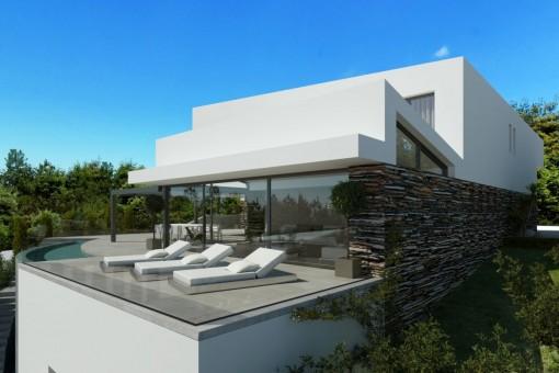Das Projekt beinhaltet eine fantastische Terrasse mit Pool