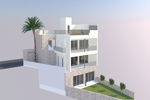 Projekt für ein modernes 3-stöckiges Haus mit Dachterrasse und Aufzug in S'Alqueria Blanca