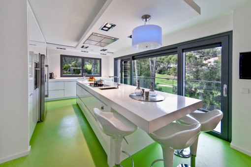 Voll ausgestattete Küche mit langem Esstisch