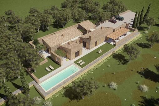 Finca Neubauprojekt - schlüsselfertig - in idyllischer, ruhiger Lage in Sineu