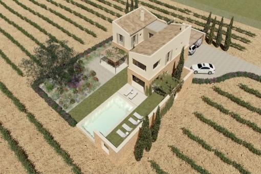 Interessantes Bauprojekt für eine Finca mit eigenem Weinanbau in Sineu