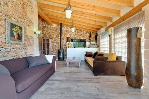 Wintergarten mit Wohnzimmer