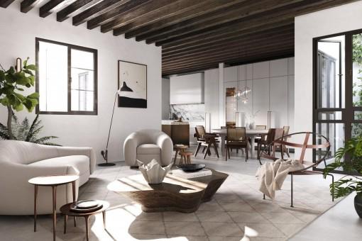 Traumhaft schöne, kernsanierte EG-Wohnung mit Patio im Zentrum von Palmas Altstadt zum Erstbezug