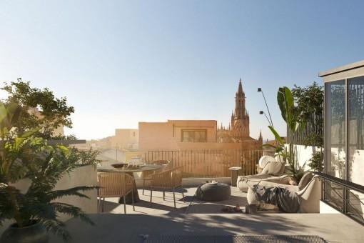 Traumhaft schöne, Penthauswohnung mit eigenem Pool und Dachterrasse im Zentrum von Palmas Altstadt zum Erstbezug