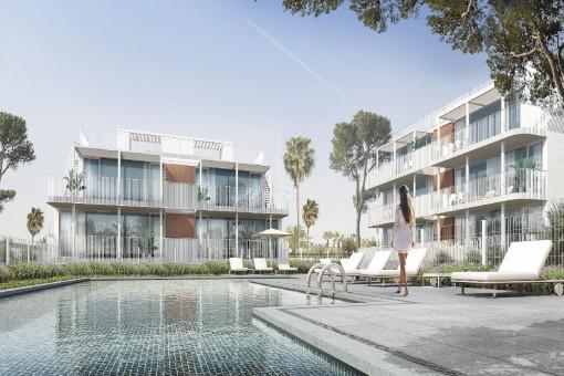 Moderne Erdgeschosswohnung in Neubaukomplex mit Gemeinschaftspool und Strandnähe in Cala d'Or