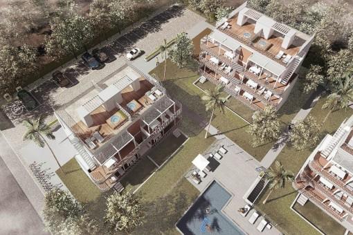 Beeindruckendes Neubau-Penthouse mit privater Dachterrasse in schöner Anlage mit Strandnähe in Cala d'Or