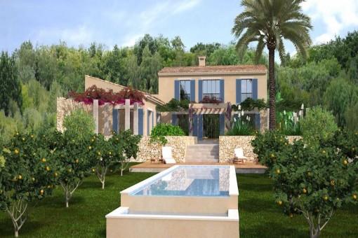 Grundstück mit Bauprojekt für eine hochwertige Neubaufinca mit Pool nahe Cas Concos