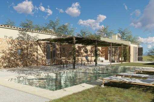 Schlüsselfertiges Finca-Projekt in ruhiger Lage mit schönem Blick in Sineu
