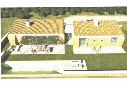 Grundstück mit Baugenehmigung und Projekt für ein freistehendes Haus mit Pool und Meerblick in Sant Llorenç