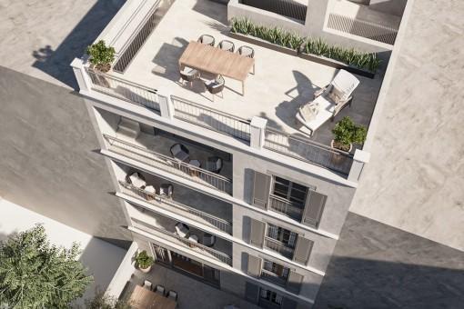 Neubau 2-Schlafzimmer Penthouse Apartment mit großer Dachterrasse in unmittelbarer Nähe zum Palma Sport- und Tennis Club in Santa Catalina