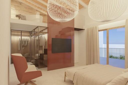 Modernes Schlafzimmer mit Galerie
