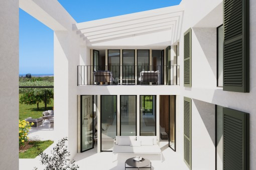 Außenansicht der Finca und Terrasse