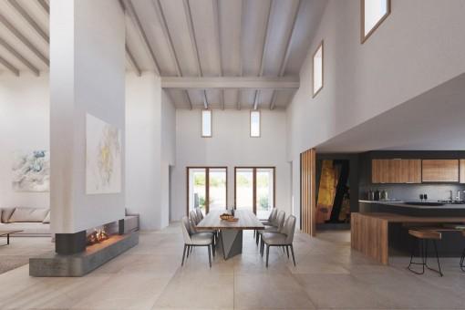 Stylisches Design mit hohen Wänden