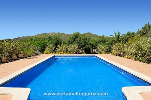 Der Pool ist umgeben von einer malerischen Landschaft