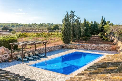 Schöner Pool- und Landschaftsblick