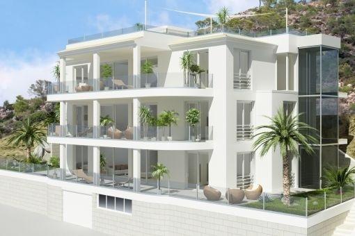 Exklusive Neubau-Wohnung mit traumhaftem Meerblick in der Cala Moragues in Puerto Andratx