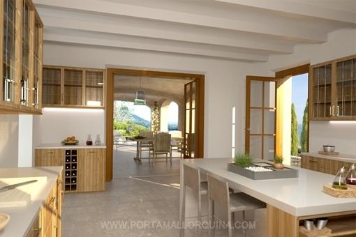 Landhausküche mit Zugang zur überdachten Terrasse