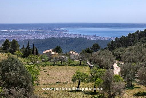 Panoramablick über die Landschaft und das Meer