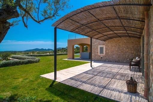 Überdachte Terrasse und Garten