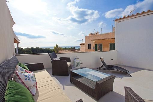 Schickes Meerblick-Penthouse mit großer Terrasse in 1. Linie Palma-Altstadt, Calatrava
