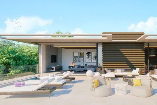 villa mit moderner architektur und meerblick in bevorzugter lage in santa ponsa kaufen. Black Bedroom Furniture Sets. Home Design Ideas