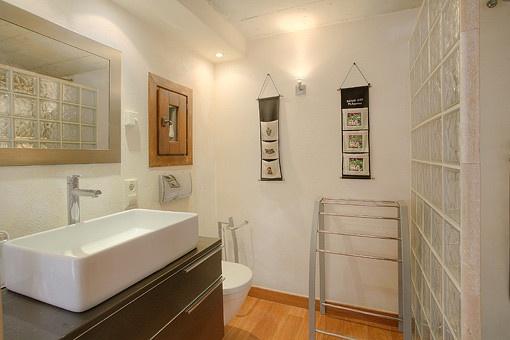 Badezimmer mit Glaswand