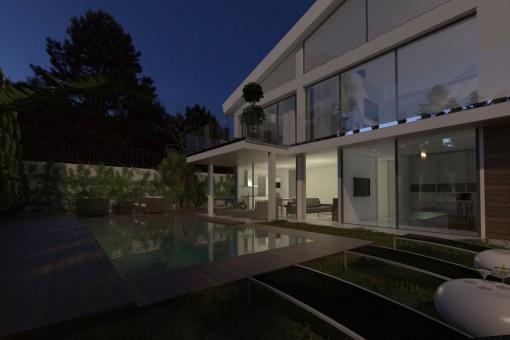 Stylischer Außen-Loungebereich bei Nacht