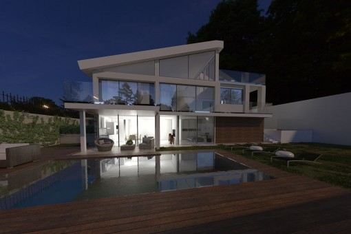 Villa und Pool bei Nacht
