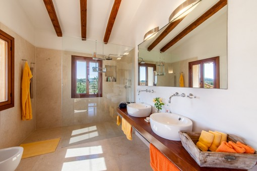 Modernes Tageslichtbadezimmer mit Dusche