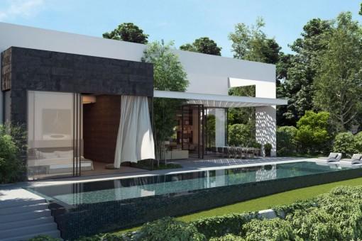 Moderne Neubau-Villa mit Teilmeerblick in begehrter Lage in Santa Ponsa