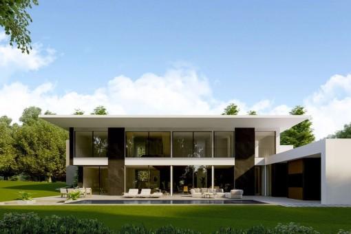 Moderne Luxusvilla mit raffinierter Architektur und Teilmeerblick in Santa Ponsa