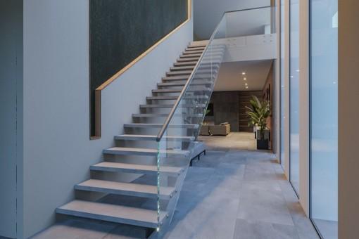 Offener Treppenaufgang ins Obergeschoss