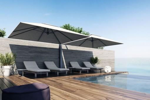 Terrasse und Swimmingpool mit Entspannungsbereich