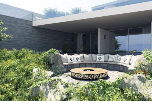 Mediterrane Terrasse und Loungebereich