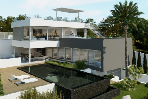 Geräumige, moderne Neubau-Villa mit Meerblick in Santa Ponsa